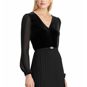 Ralph Lauren  velvet bodice pleated dress